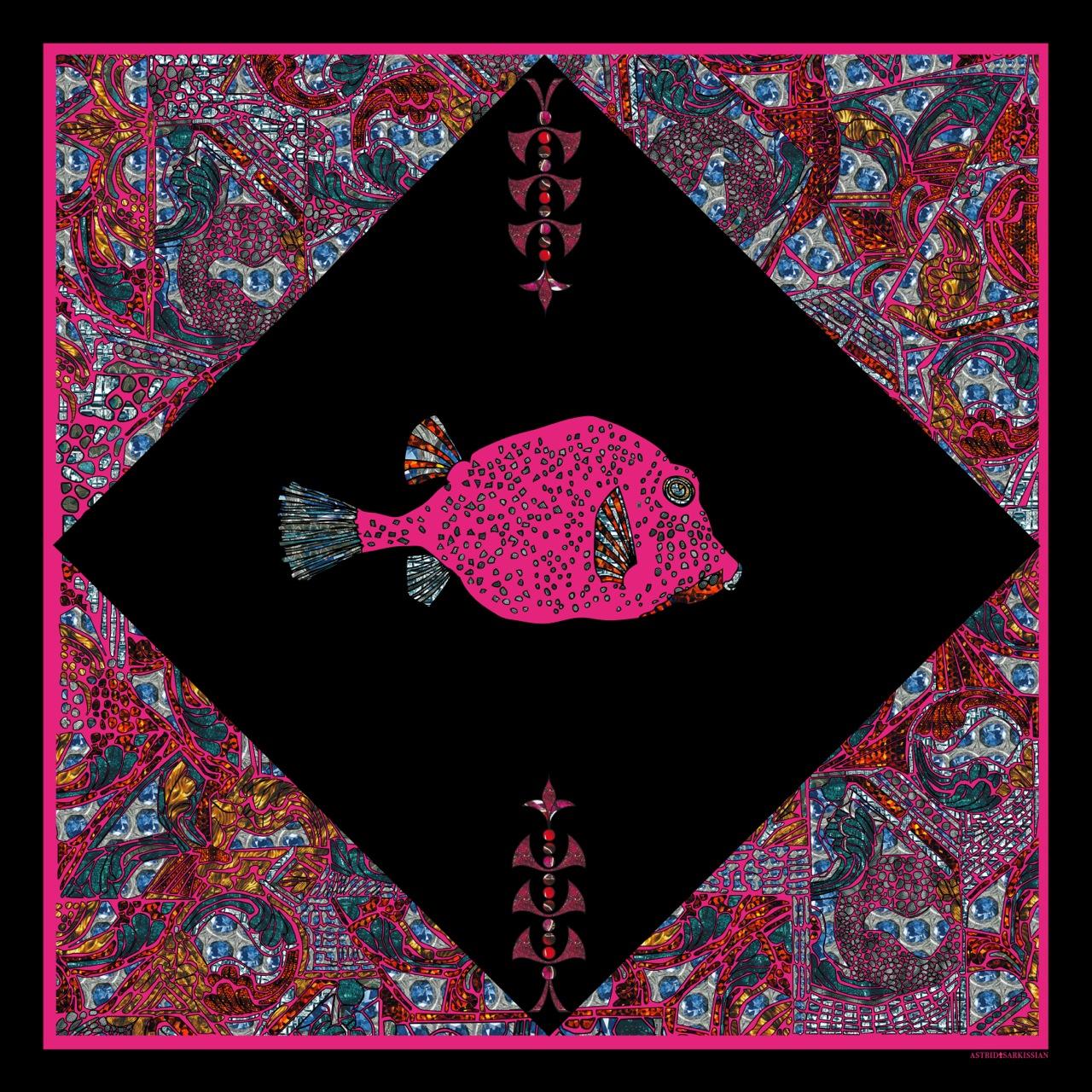 Fish 1 Pink BG Black